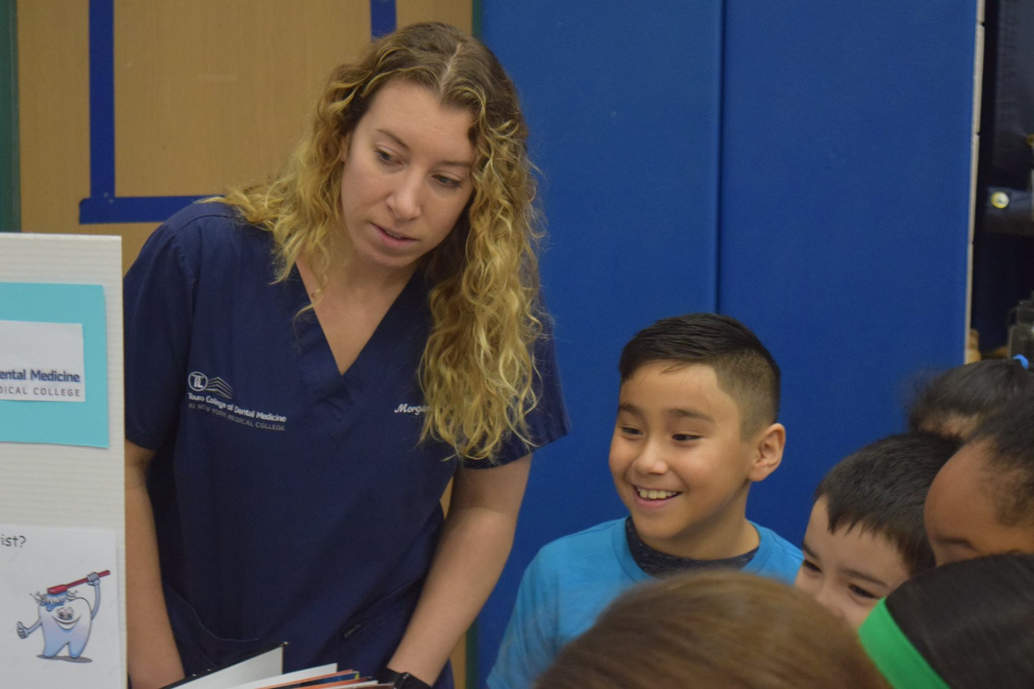 TCDM student-dentists teach elementary school students from Elmsford about the importance of oral health.