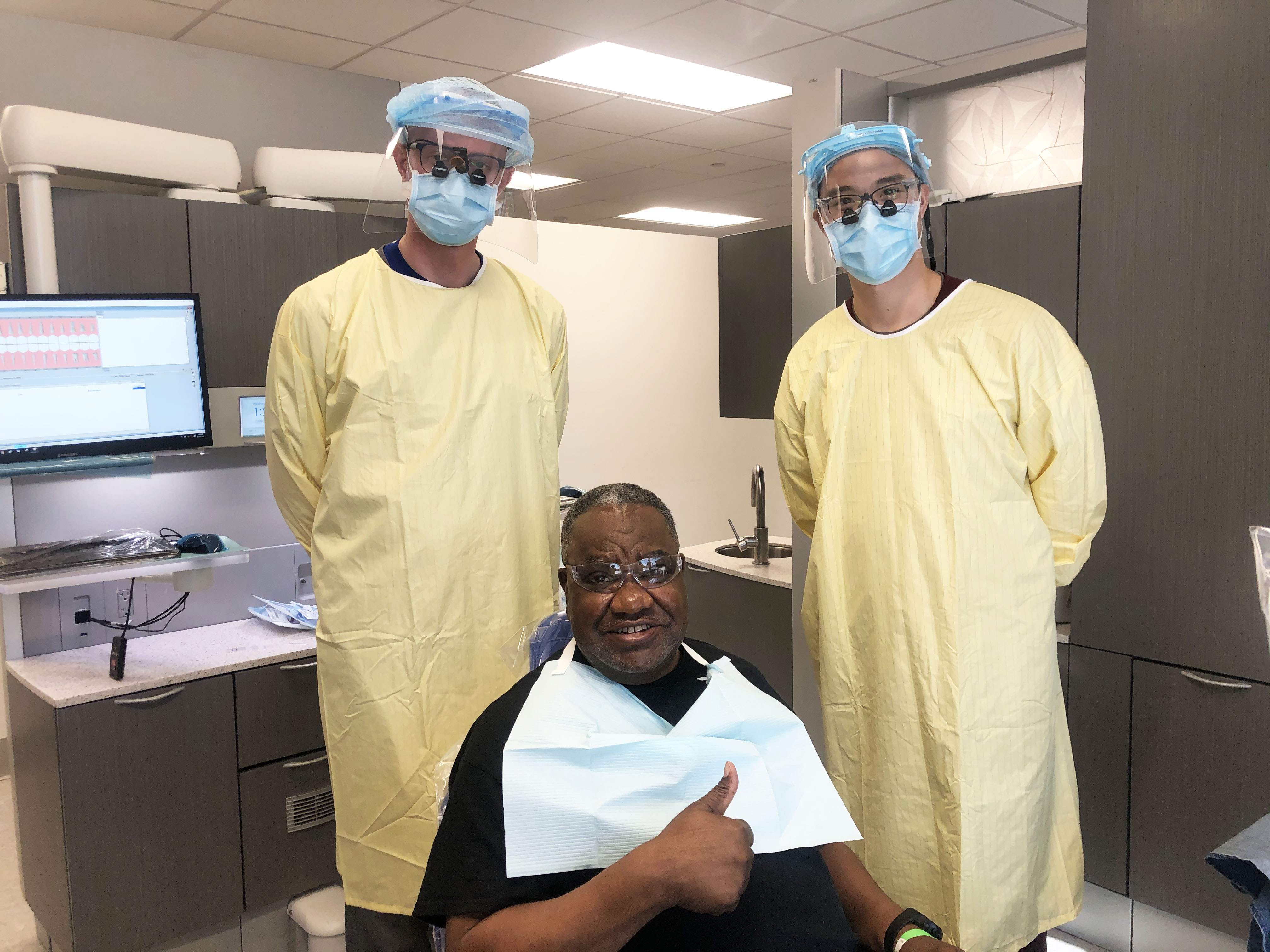 Former military personnel Robert Brown received dental care at TCDM as part of its annual Smiles for Veterans Program