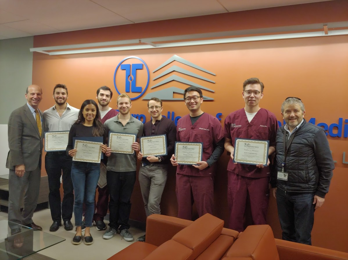 Touro College of Dental Medicine's Research Program participants received their certificates.