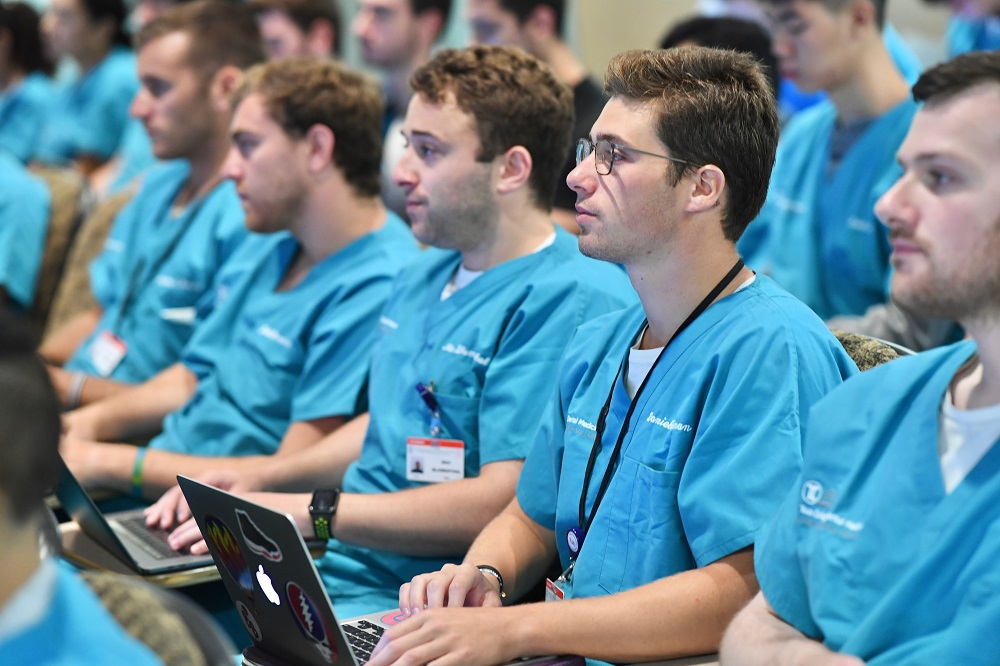 TCDM Class of 2022 students listen in during one of their first lectures as dental students.